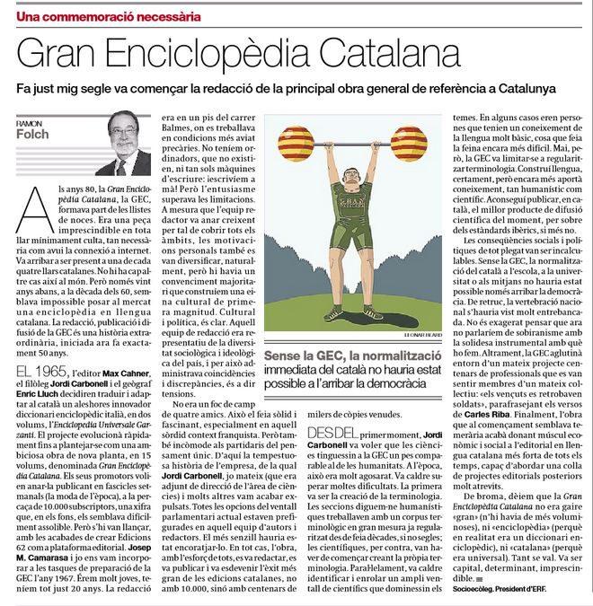 "Article de Ramon Folch a 'El Periódico': ""Gran Enciclopèdia Catalana"""